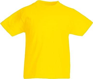 Fruit of the Loom - Camiseta de manga corta para niños (cuello redondo, 100% algodón) Amarillo amarillo 71/76 cm(5-6 años): Amazon.es: Ropa y accesorios