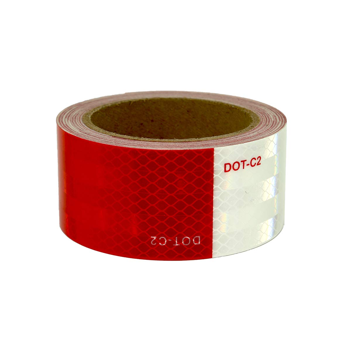 PREMIUM Class-VIII DOT-C2 Reflective Tape (Conspicuity Tape) for Trailer and Truck Safety (2''x30 Ft. with 7''/11'' White/Red Pattern)