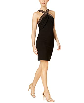 66617d9061 Image Unavailable. Image not available for. Color  Calvin Klein Womens Embellished  Halter Party Dress Black 16