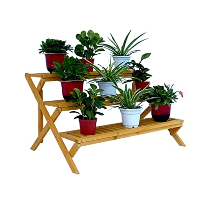 Outdoor Planter Stand Amazon 3 tier wooden step planter stand garden outdoor 3 tier wooden step planter stand workwithnaturefo
