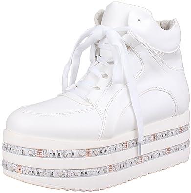 35e10c3dd Poppin Kicks Women s Dual LED Light up Platform Shoes Luminous Flashing Hi  Leather Sneakers 4.5 US
