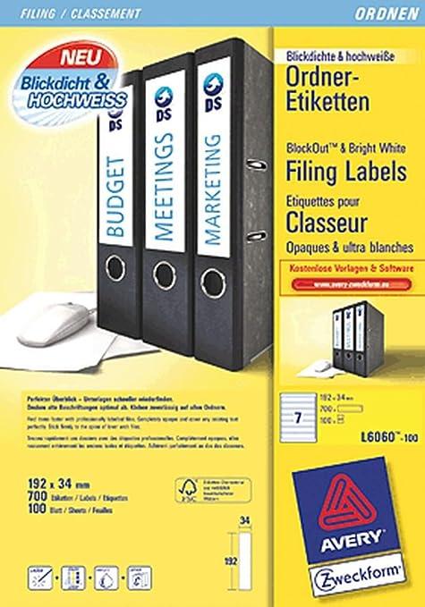 Avery Zweckform – Etiquetas para lomo de archivadores estrecho/L4760 – 100 Unidades),