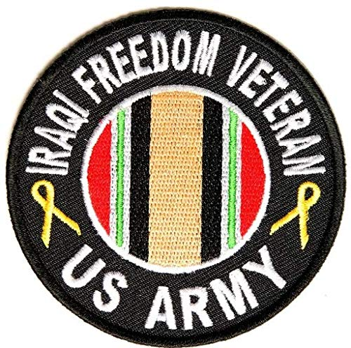 - Iraqi Freedom Army Vet Patch Round Embroidered Iron-On Patch Rect - 3 inch