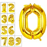 mylar number balloons - Lovne 40 Inch Gold Number 0 Balloon Birthday Party Decorations Helium Foil Mylar Number Balloon