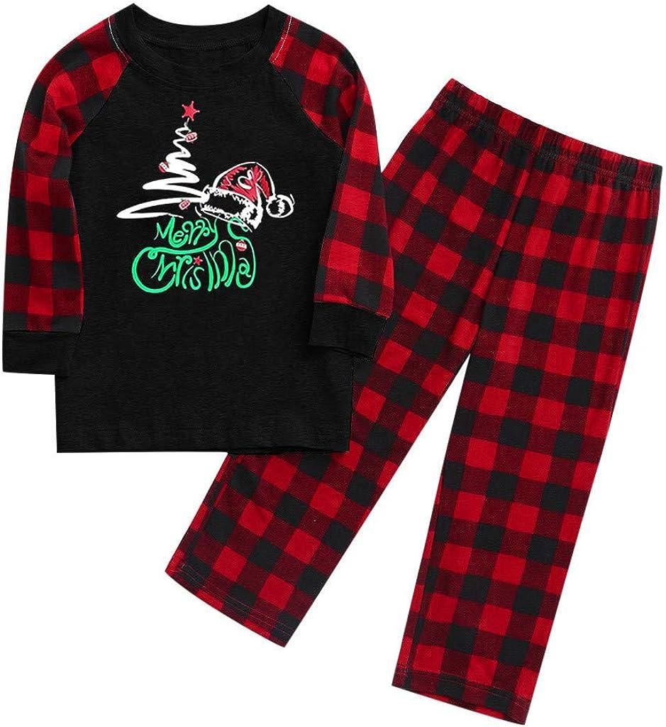 Pijamas Navide/ños a Cuadros Tops de Manga Larga y Pantalones Conjunto de Dos Piezas YIKEYO Pijama Navidad Familiar a Juego para Pareja Mujer Hombre Ni/ño Ni/ña Bebe