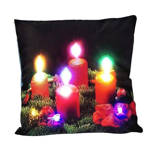 Jannyshop Velas de Colores Almohada de Navidad Luces LED ...