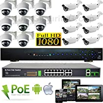 USG 16 Camera Security System 1080P PoE IP CCTV Kit 1x 24 Channel NVR + 16x 1080P Sony DSP 2.8-12mm PoE IP Dome & Bullet Cameras + 1x Gigabit 16 PoE Network Switch Remote Phone Viewing