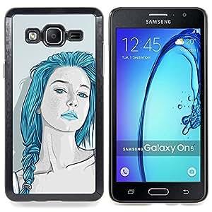 /Skull Market/ - Beautiful Blue Hair Girl Sensual Lips For Samsung Galaxy On5 SM-G550FY G550 - Mano cubierta de la caja pintada de encargo de lujo -