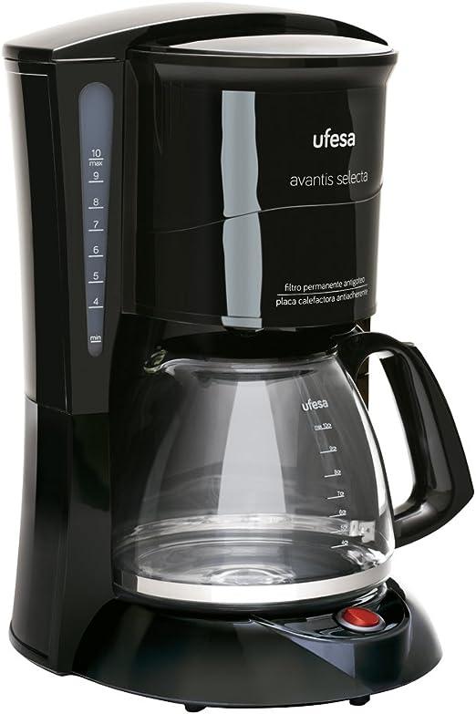 Ufesa 60 CG7231 Avantis Selecta-Cafetera de Goteo, 800W, Jarra de Vidrio, 10 Tazas, Filtro Permanente, 800 W, plástico, Negro: Amazon.es: Hogar