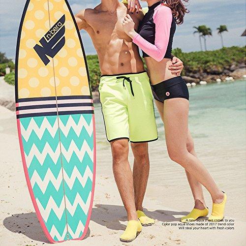 Justonestyle Nbera Scarpe Di Pelle Dacqua Flessibile A Piedi Nudi Calze Aqua Per Beach Swim Surf Yoga Esercizio Pop_yellow