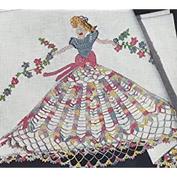 Vintage Crochet Pattern to make - Crinoline Lady Girl Applique Edging Motif. NOT a finished item. This is a pattern and/or instructions to make the item only.