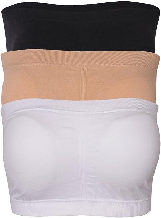Padded Seamfree Bandeau Bra Sizes Size M-3XL Black White Nude