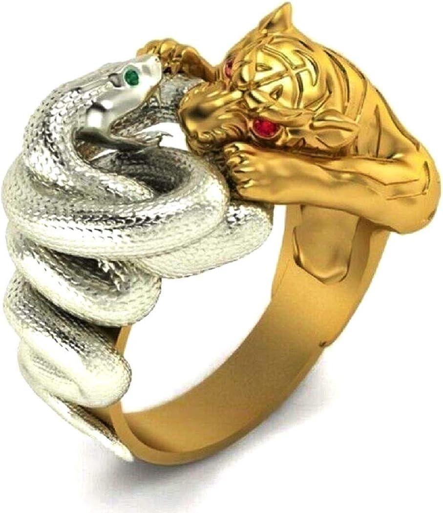 Viking Animal Jewelry Gift for Men Boys Vintage Gothic Red Eyes Tiger Head Ring Gold Tiger Silver Snake Fighting Punk Hip Hop Green Eyes Snake Wrap Ring Snake Tiger Ring for Men