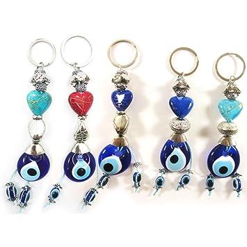 Amazon.com: 1 azul mal de ojo Corazón Llavero Anillo Nazar ...