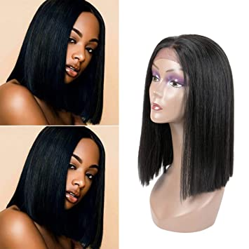 e340a9f7b Amazon.com : Hairphocas Straight Bob Lace Front Wig Shoulder Length  Synthetic Full Wigs for Women Pre-Plucked Glueless Wigs with Baby Hair 1B :  Beauty