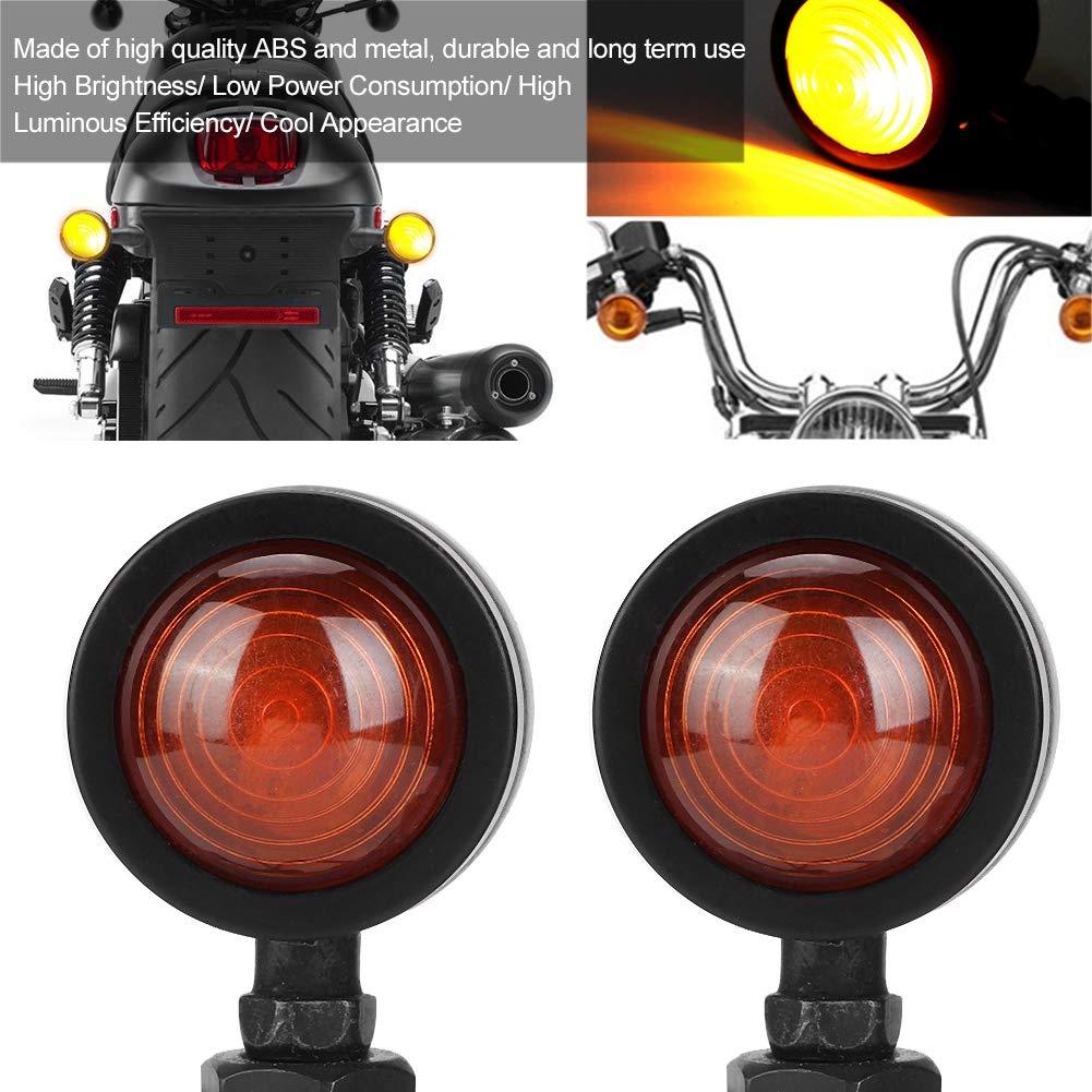 EBTOOLS 2Pcs Turn Signal Light Indicadores De Luces De Se/ñAl De Motocicleta De Metal Retro Negro