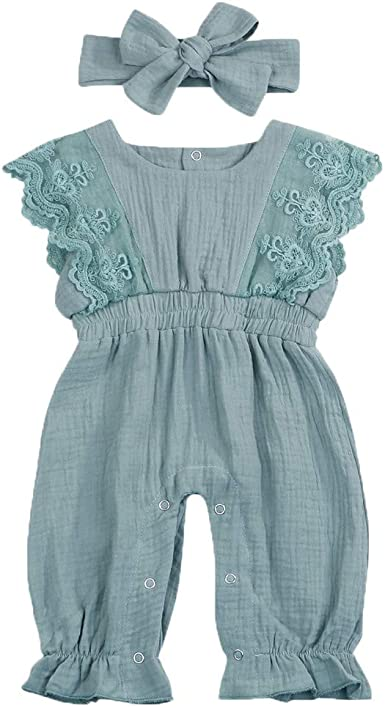 WARMSHOP Newborn Sleeveless Solid Denim Romper Boys Girls Pocket Creepers Bodysuit