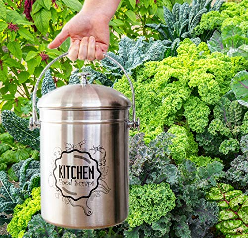 Kitchen Compost Bin Stainless Steel (Food Grade 410) Odorless Countertop Compost Pail -Bonus Charcoal Filters & Gardening Gloves. Insect-proof 1.3 Gallon bucket. Gift Boxed, and Gift Wrap available by Green Hills Health (Image #5)