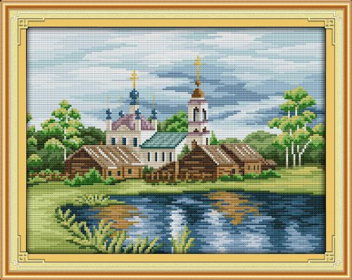 Happy Forever Cross Stitch, The scenery , The riverside landscape f189