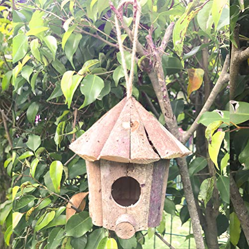 PIVBY Hummingbird House for Outside Hanging Natural Wooden Handmade Outdoor Birdhouse Nest for Gardening Decoration ()