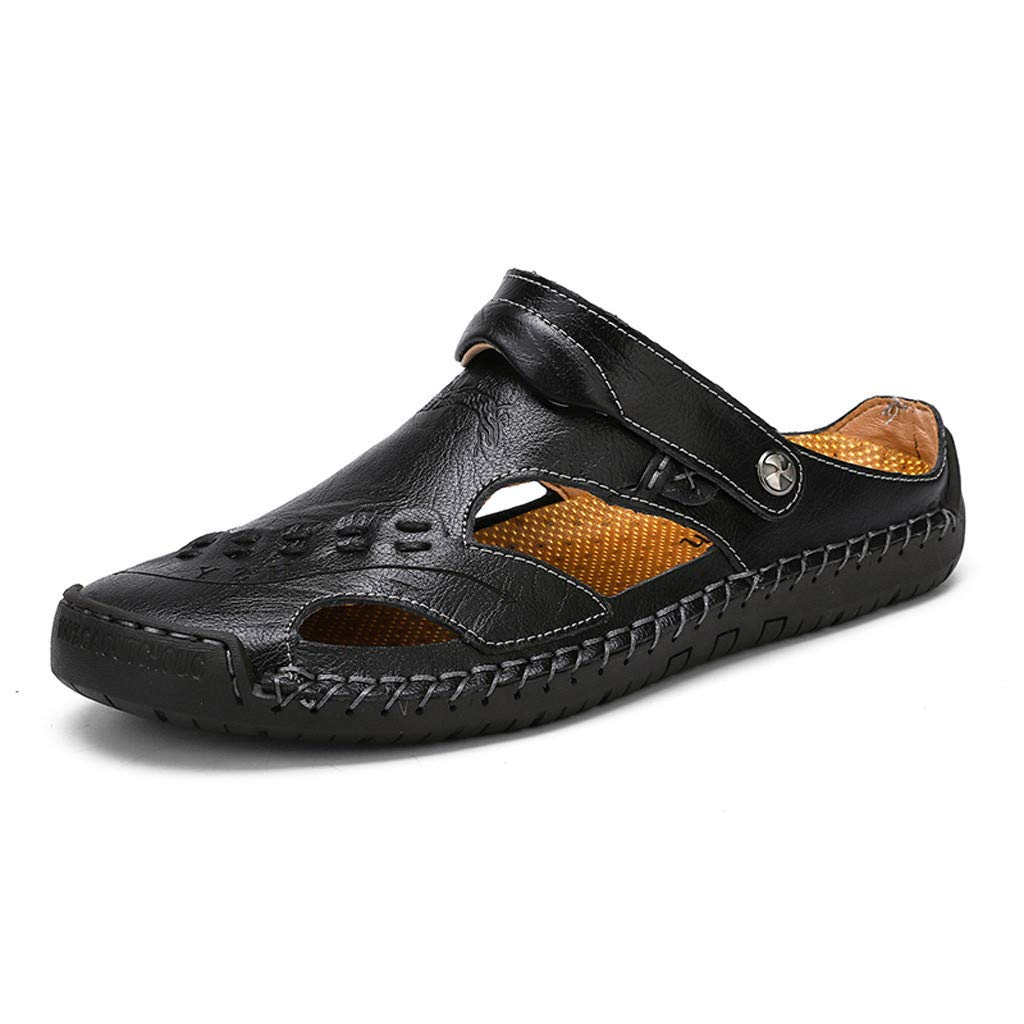 Leather Sandals for Men 2019 New Casual Lightweight Hiking Beach Water Shoes (US:8, Black 4)
