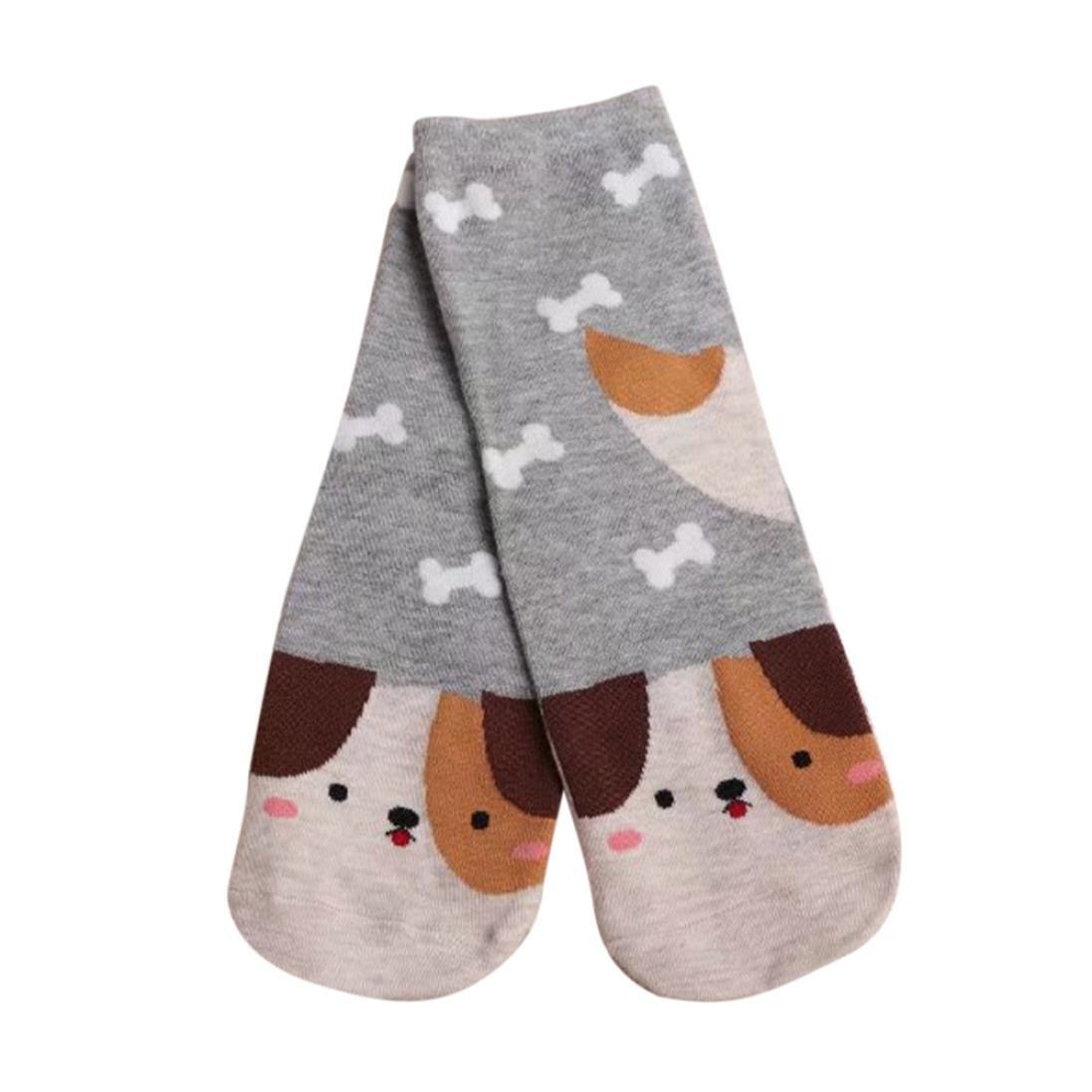Clearance!Women Socks Ladies Girls Cotton Warm Soft Sox Cute Cartoon Socks (Gray)