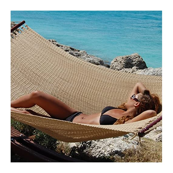 Caribbean Hammocks Jumbo 55 INCH - Soft-Spun Polyester - tan - Extremely large and amazingly comfortable hammock. Easily big and strong enough to hold two people...... or more ! Premium quality polyester cords, hardwood spreader bars and stainless steel 'O' rings - patio-furniture, patio, hammocks - 61O%2BmnN3hoL. SS570  -