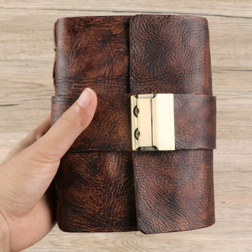 Wrasda Notebook Gift Retro A7 A6 Pocket Leather S Journals Diary Book With Password Lock Office School Supplies Creative Stationery