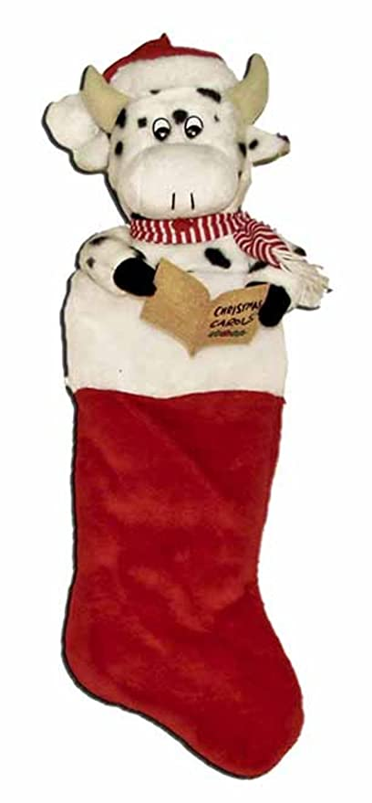 21 Musical Cow Plush Animal Head Red Christmas Stocking Amazon Ca