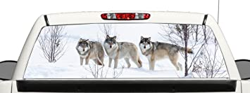 Amazoncom Truck SUV Wolf Rear Window Graphic Decal Perforated - Rear window hunting decals for trucksamazoncom truck suv whitetail deer hunting rear window graphic