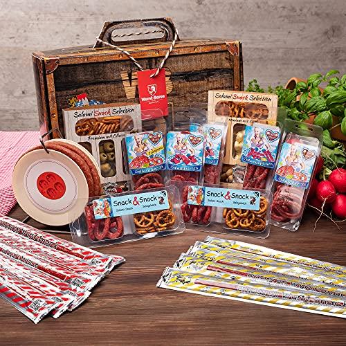 WURSTBARON® – Wurst Geschenk Koffer groß – mit 24 besonderen Salami Snacks und einer Wurst Kabeltrommel – Brezen, Herzen…
