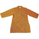 Ethnic Wear Baby Boys Kurta in Orange Zig Zag Patterned
