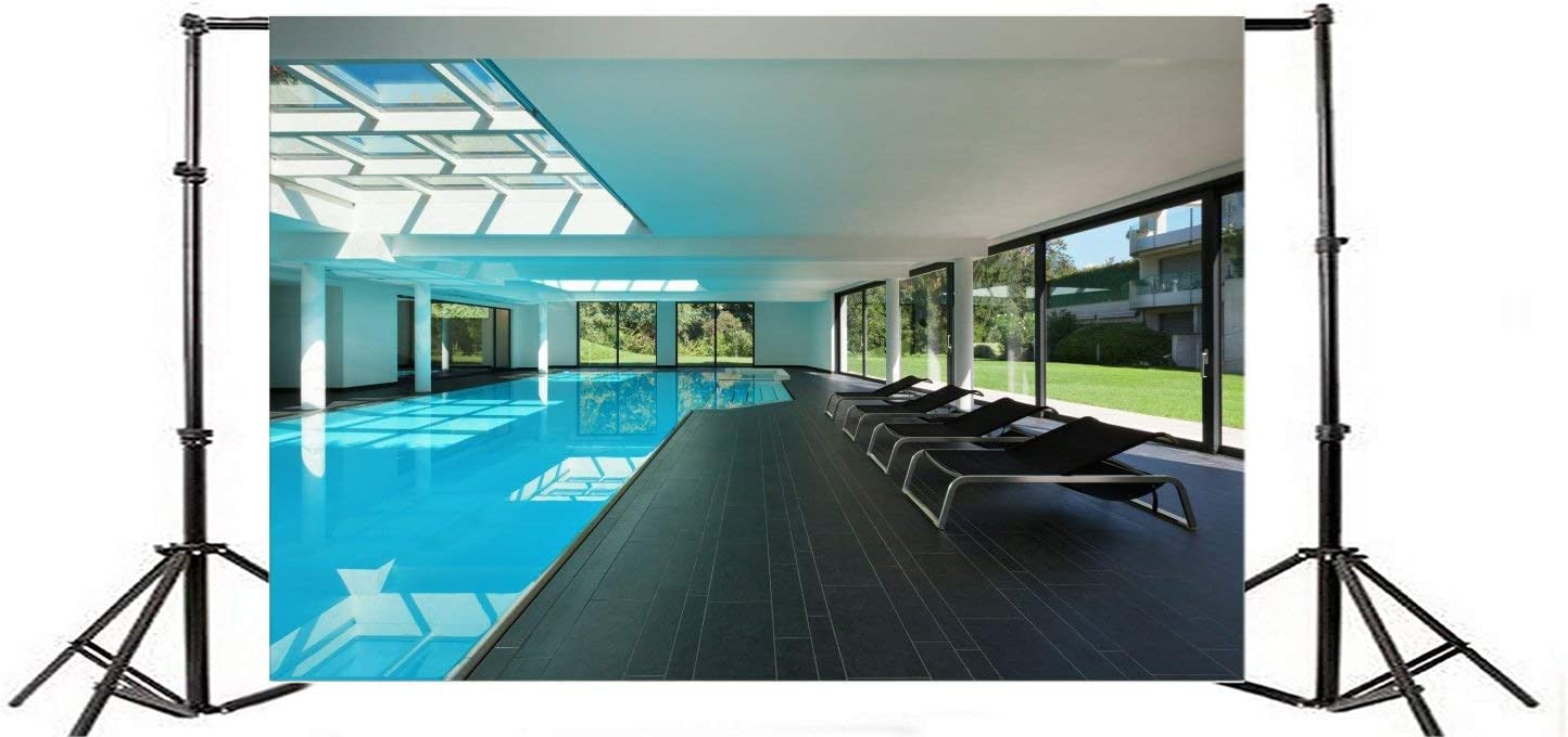 Indoor Swimming Pool Photography Background 10x6.5ft Interior Luxury Water Blue Relaxation Hotel Residential Leisure Lifestyle Spa Empty Healthy Ceiling Modern Resort Wide