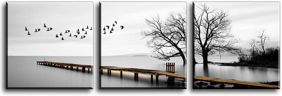 Cuadro en Lienzo en Aves Volando por el Lago Pinturas murales Decoración Impresiones de Lienzo Paisaje de Invierno para para Sala de Estar Cocina Dormitorio Aniversario 30x30cm 3er
