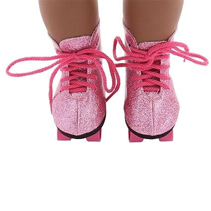 61b35b88b8 Amazon.com: Gbell Glitter Pink Doll Roller Skates, Skating Shoes Ice ...