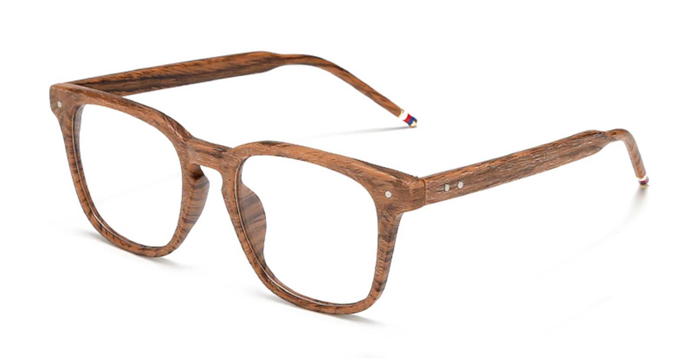J&L Glasses Vintage Classic Full Frame Wood Grain Unisex Glasses Frame (Wooden, Clear)