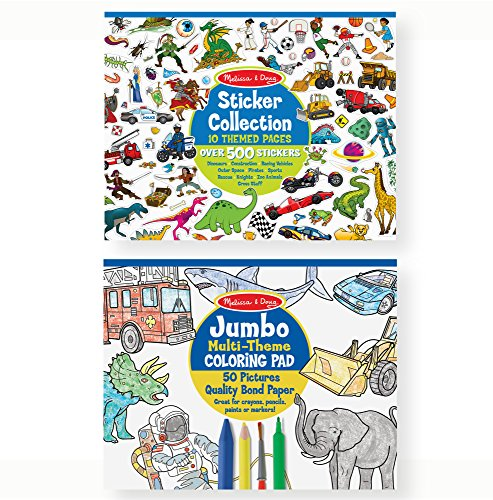 Melissa & Doug Sticker and Jumbo Coloring Pads Set: Animals, Sports, Vehicles, and More - 500+ Stickers, 50 Coloring Pages ()