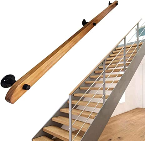 Pasamanos de escalera Barandilla -Complete Kit.Profesional Antideslizante Rieles De Madera For Escaleras, De Alta Resistencia Montado En La Pared De Interior Casero Loft Ancianos Pasamanos Pasamanos B: Amazon.es: Hogar