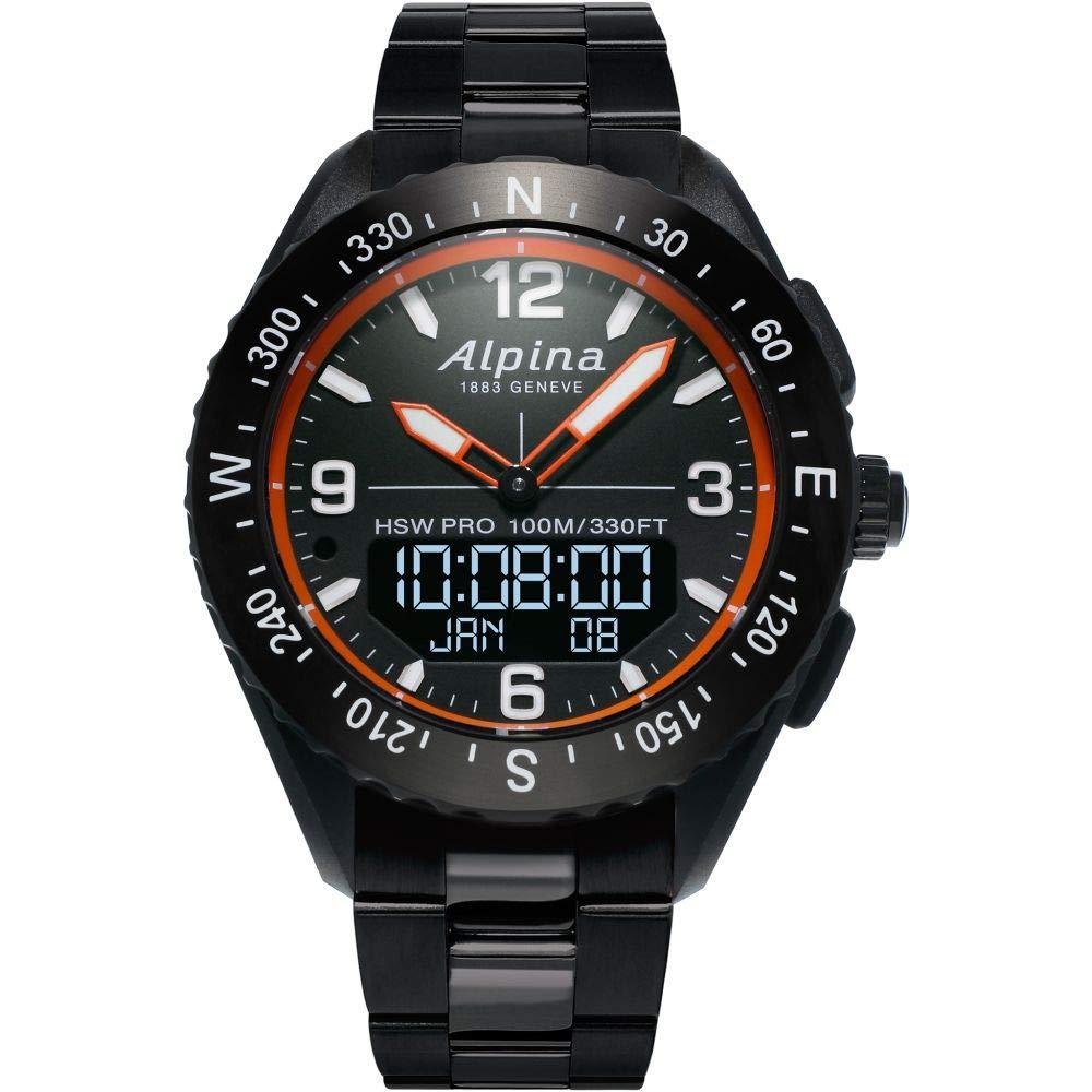 Image of Alpina Men's AlpinerX Fiber Glass Swiss Quartz Sport Watch with Stainless Steel/Titanium Strap, Black, 22 (Model: AL-283LBO5AQ6B) Sport Watches