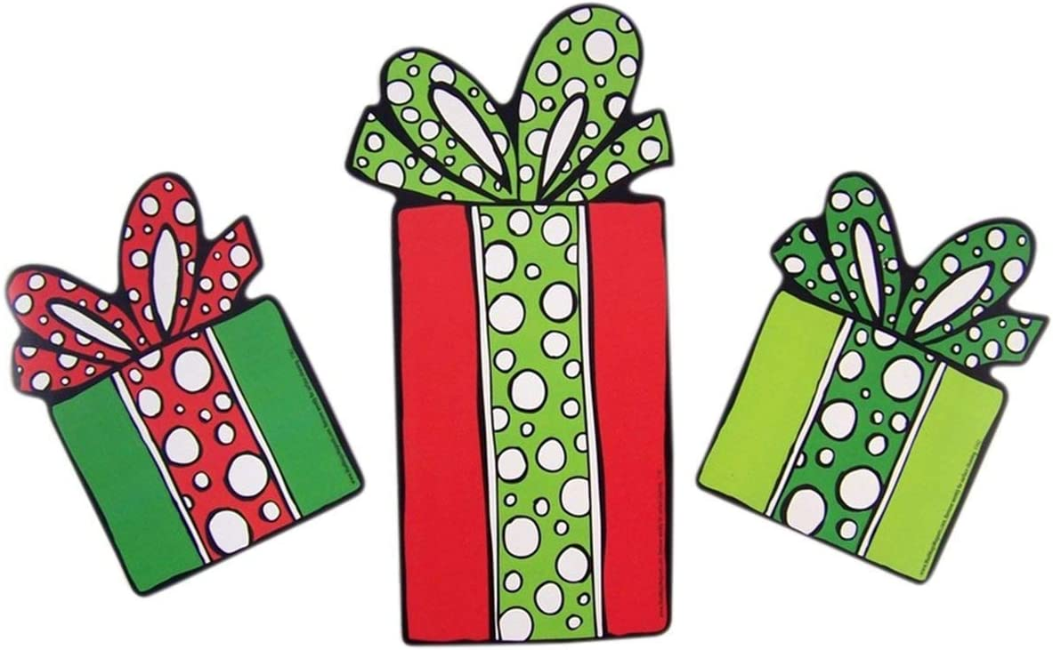 Set of 3 Holiday Present Shaped Magnets for Cars, Lockers, and Offices