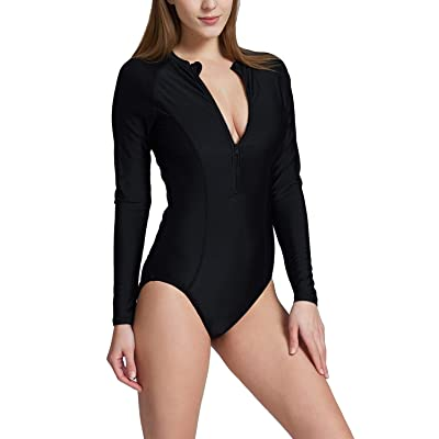 BALEAF Women's Long Sleeve One Piece Sun Protection Rash Guard Rashguard UPF 50+ Wetsuit Swimsuit at Women's Clothing store