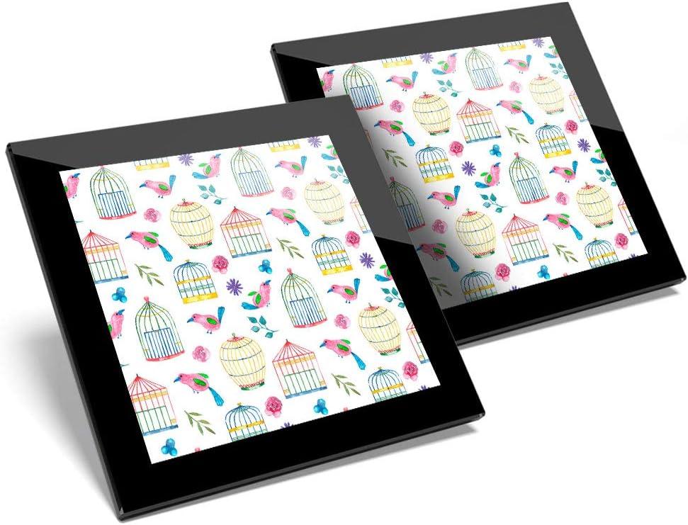 Impresionante juego de 2 posavasos de cristal con diseño de jaula de pájaros y patrón de pájaro brillante de calidad para cualquier tipo de mesa #21224