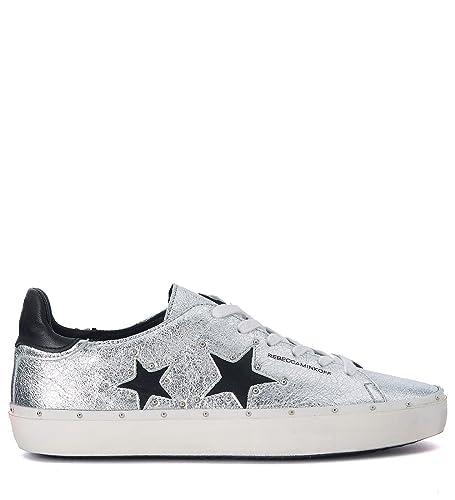 Rebecca Minkoff Women s Michell Silver and Black Leather Sneaker with Studs  36(EU) - 29e4d82966d