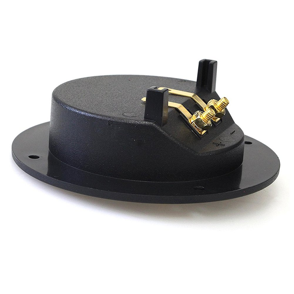 SODIAL 4-Inch Round Gold Push Spring Loaded Jacks Double Binding Post Speaker Box Terminal Cup
