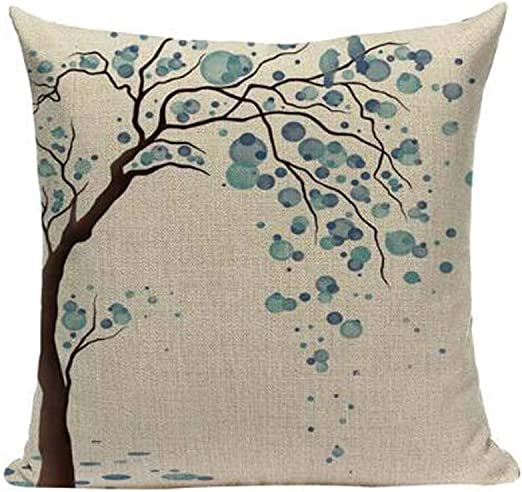 "18/"" Blue and White Cotton Linen Throw Pillow Case Cushion Cover Home Decor"