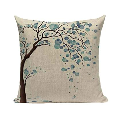 Amazon.com  LYN Cotton Linen Square Throw Pillow Case Decorative ... 1d7c824d0