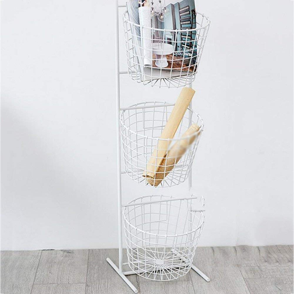 YUEQISONG Storage Rack Iron Green White Basket Multilayer Multifunction Kitchen Living Room, White