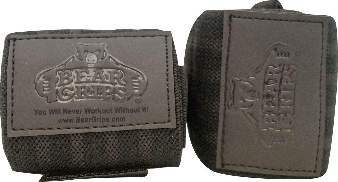 Bear Grips Gray Series, White Series Wrist-Wraps, Extra-Strength Wrist Support, Wrist Brace for Workouts (Colors: Black on Black, Sizes: 12'', Sold in Pairs, Two Wrist Straps per Pack)