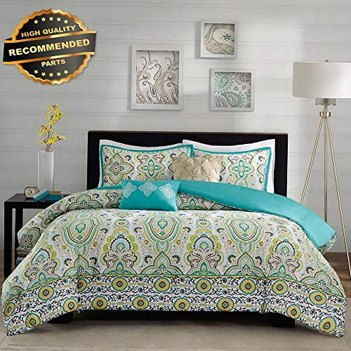 Gatton Premium New Beautiful Modern Chic Teal Aqua Blue Green Bohemian Comforter Set Full Queen | Style Collection Comforter-311012901