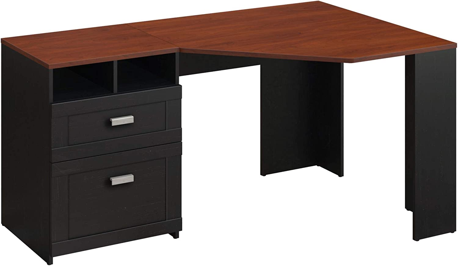 Bush Furniture Wheaton Corner Desk, Antique Black Hansen Cherry